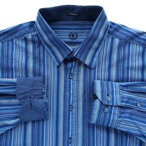Bugatchi Striped Mens Shirt Size XXL Blue